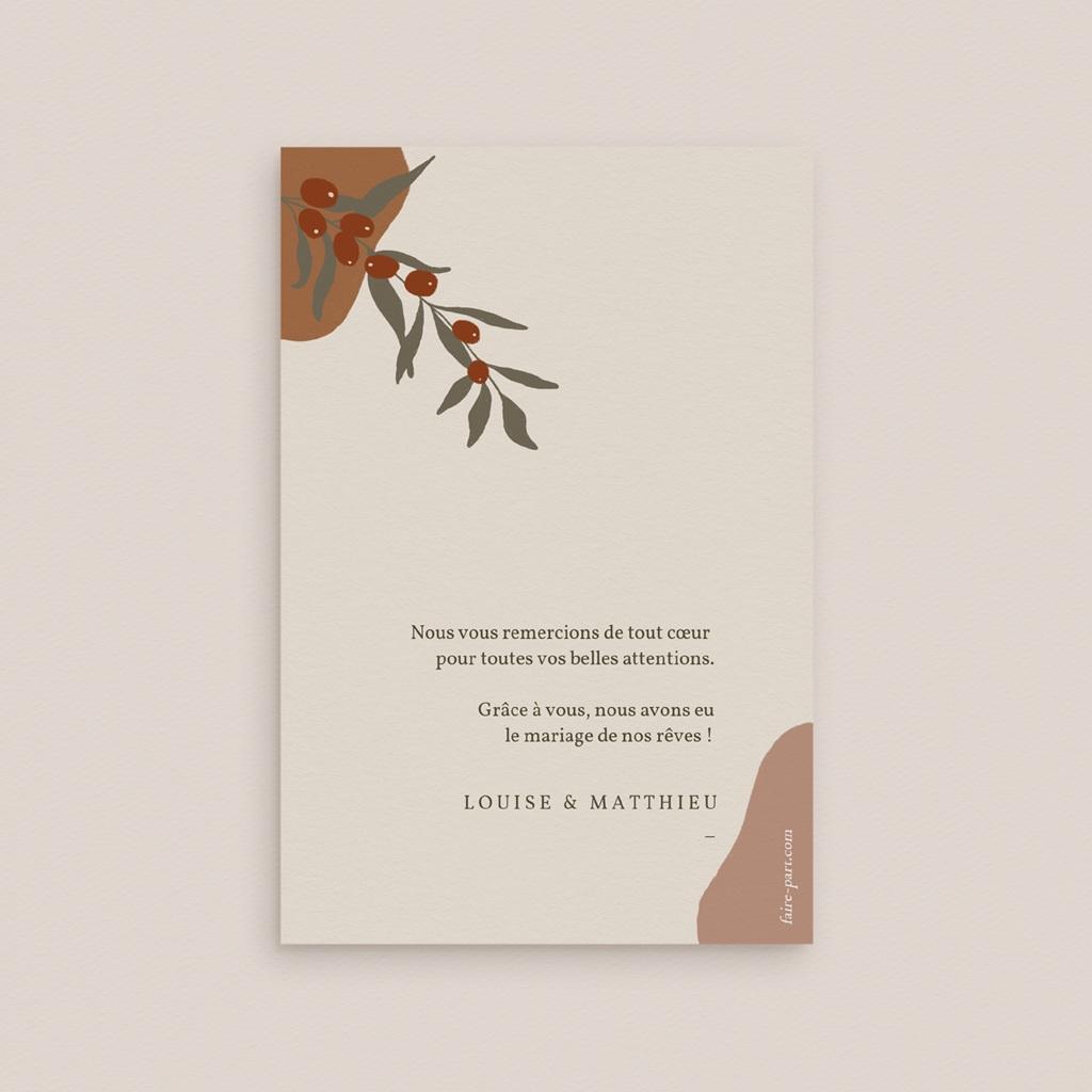 Carte de remerciement mariage Rameau bohème, Portait des mariés pas cher