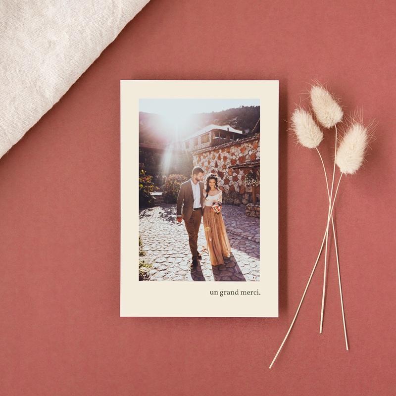 Carte de remerciement mariage Rameau bohème, Portait des mariés gratuit