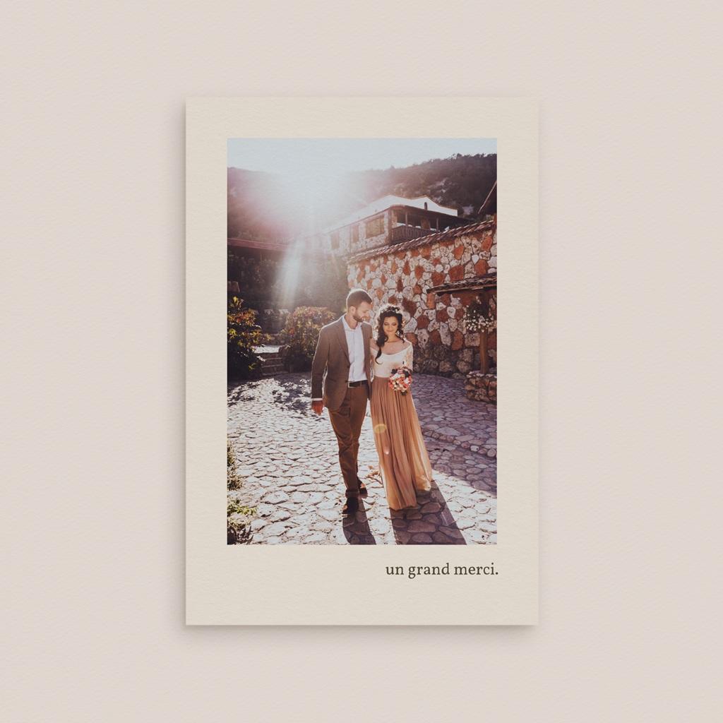Carte de remerciement mariage Rameau bohème, Portait des mariés