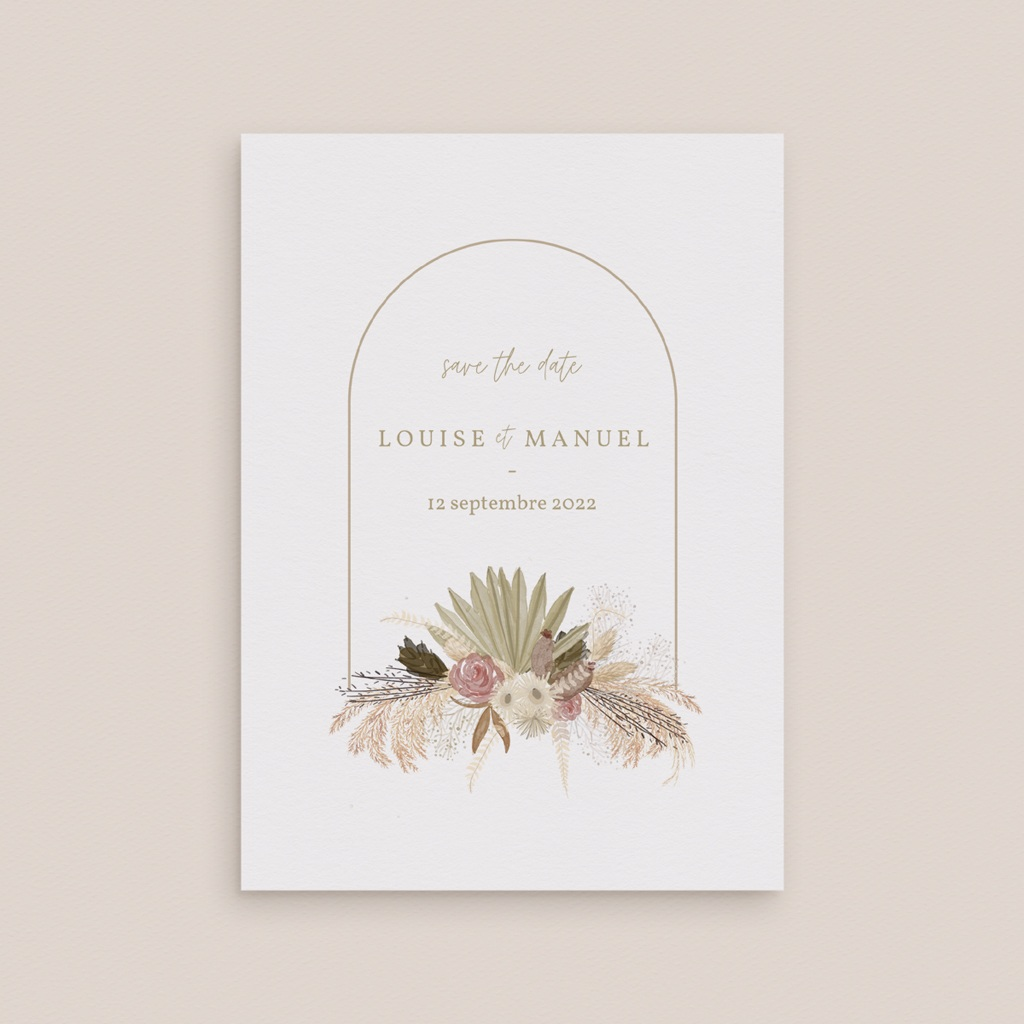Carte anniversaire de mariage nature Arche boho, végétal, Jour J gratuit