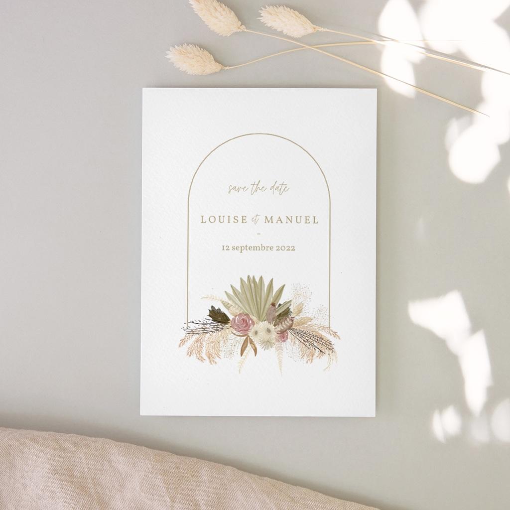 Carte anniversaire de mariage nature Arche boho, végétal, Jour J