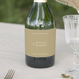Etiquette bouteille mariage Arche boho, végétal, Champagne