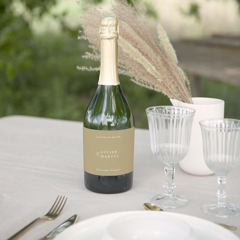 Etiquette bouteille mariage Arche boho, végétal, Champagne gratuit