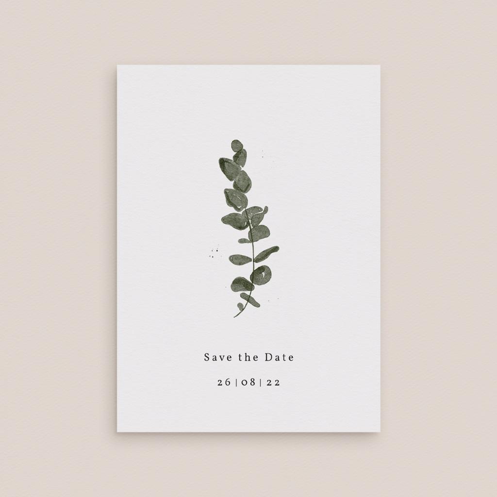 Save-the-date mariage Eucalyptus Herbarium, Jour J gratuit