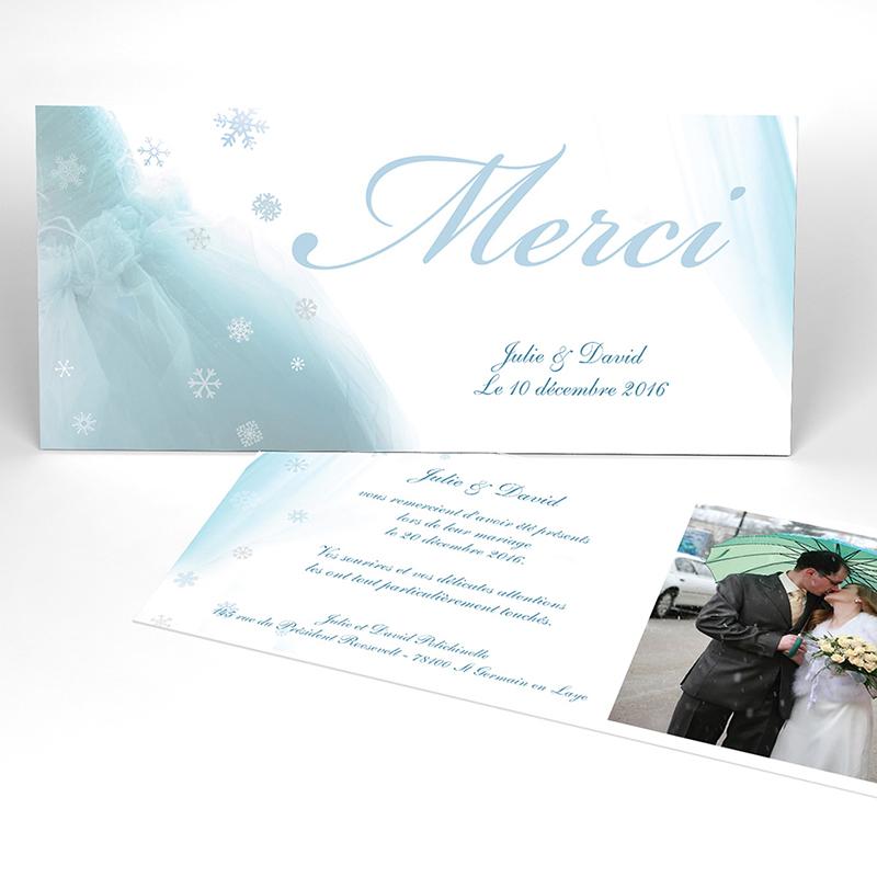 Carte de remerciement mariage Mariage en hiver