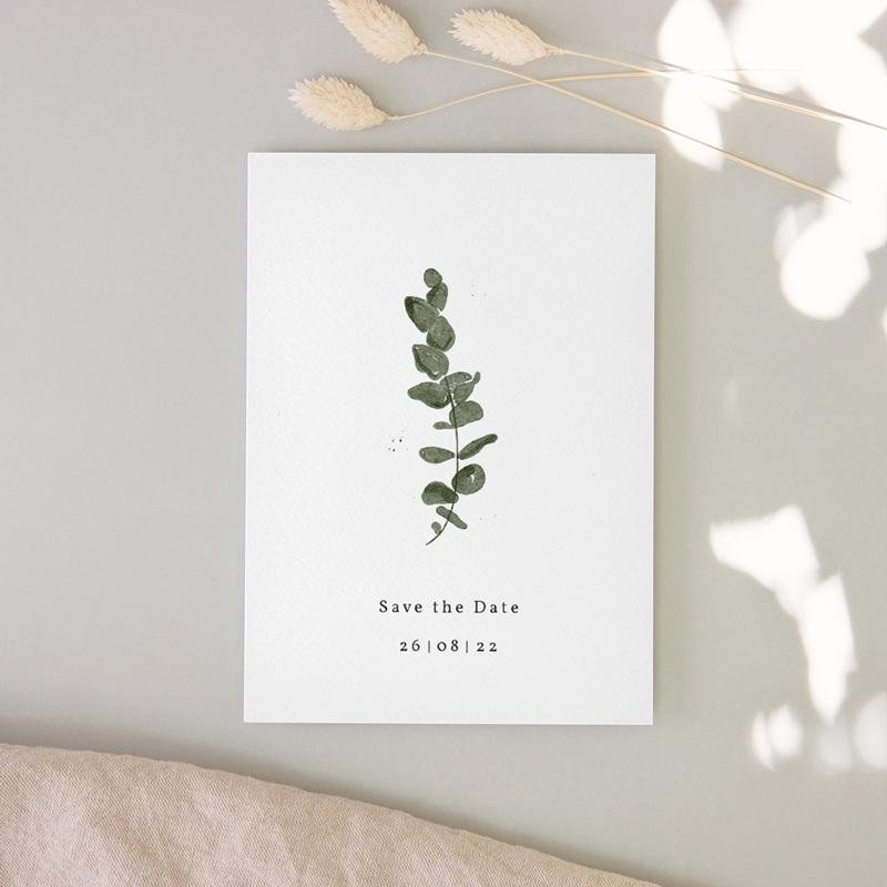 Save-the-date mariage Eucalyptus Herbarium, Jour J