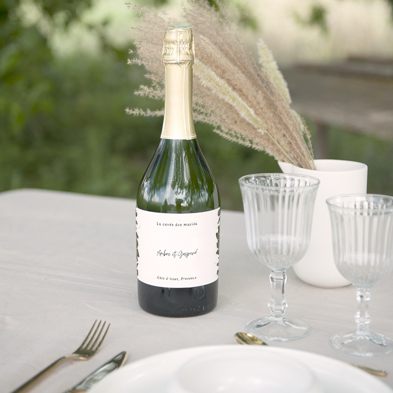 Etiquette bouteille mariage Eucalyptus Herbarium, Champagne gratuit