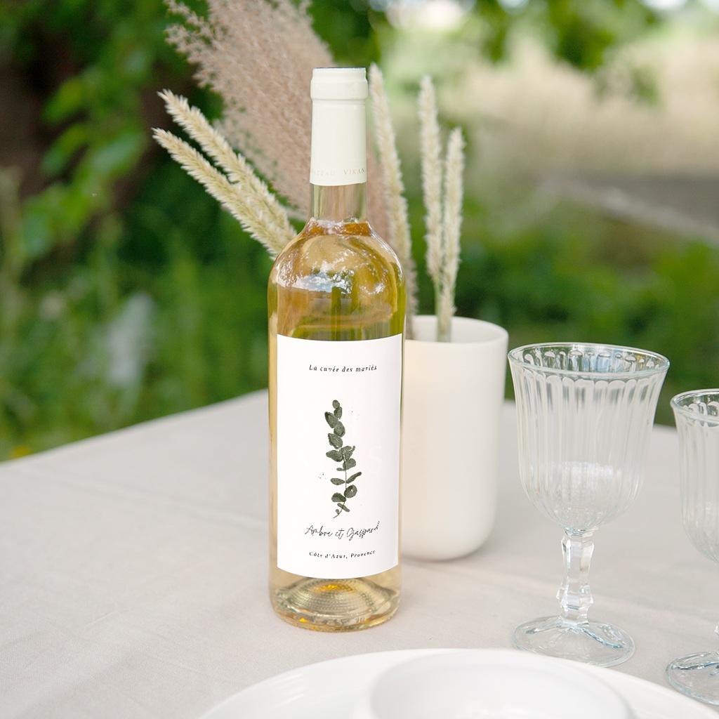 Etiquette bouteille mariage Eucalyptus Herbarium, Vin