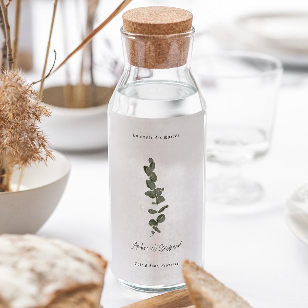 Etiquette bouteille mariage Eucalyptus Herbarium, Vin gratuit