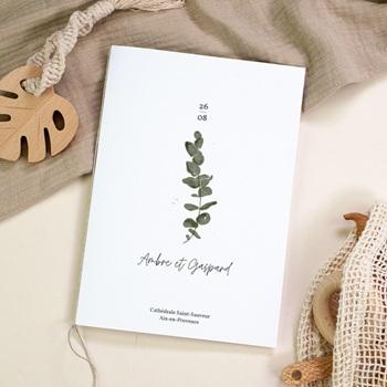Livret de messe mariage Eucalyptus Herbarium, couverture livret