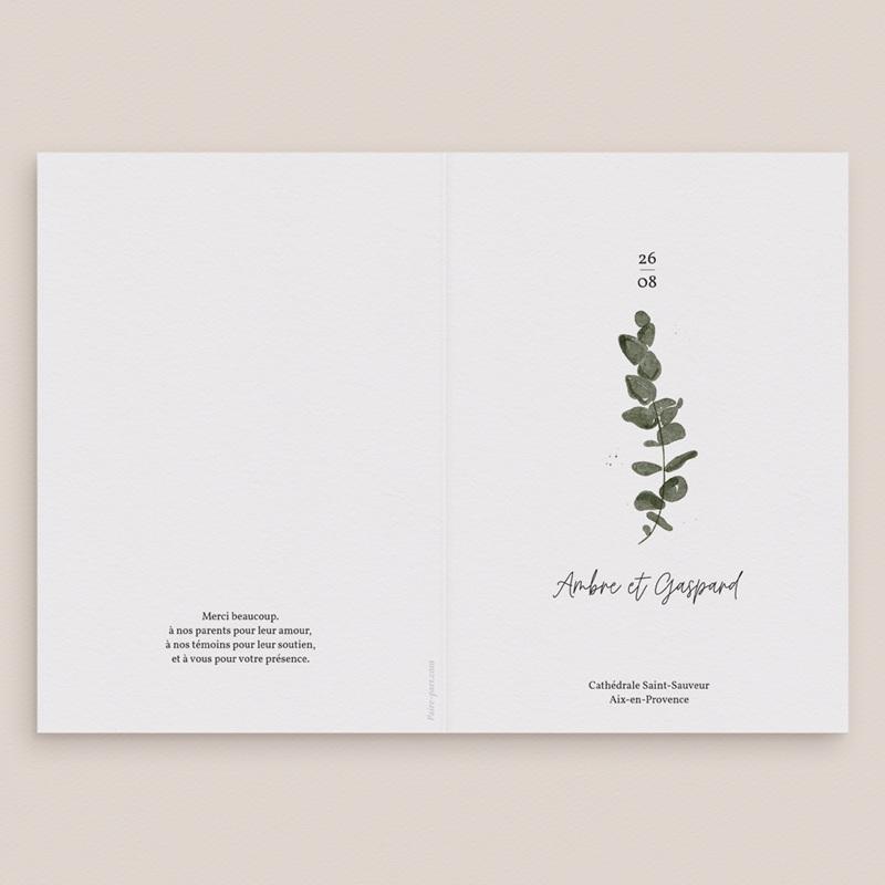 Livret de messe mariage Eucalyptus Herbarium, couverture livret gratuit