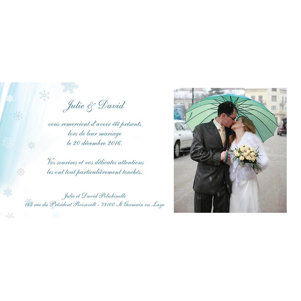 Carte de remerciement mariage Mariage en hiver  gratuit