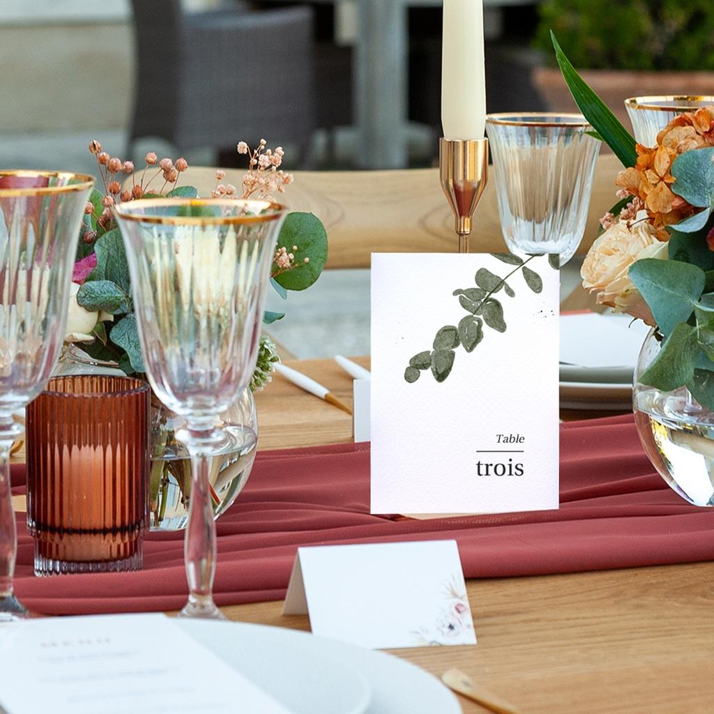 Marque table mariage Eucalyptus Herbarium, Lot de 3 repères pas cher