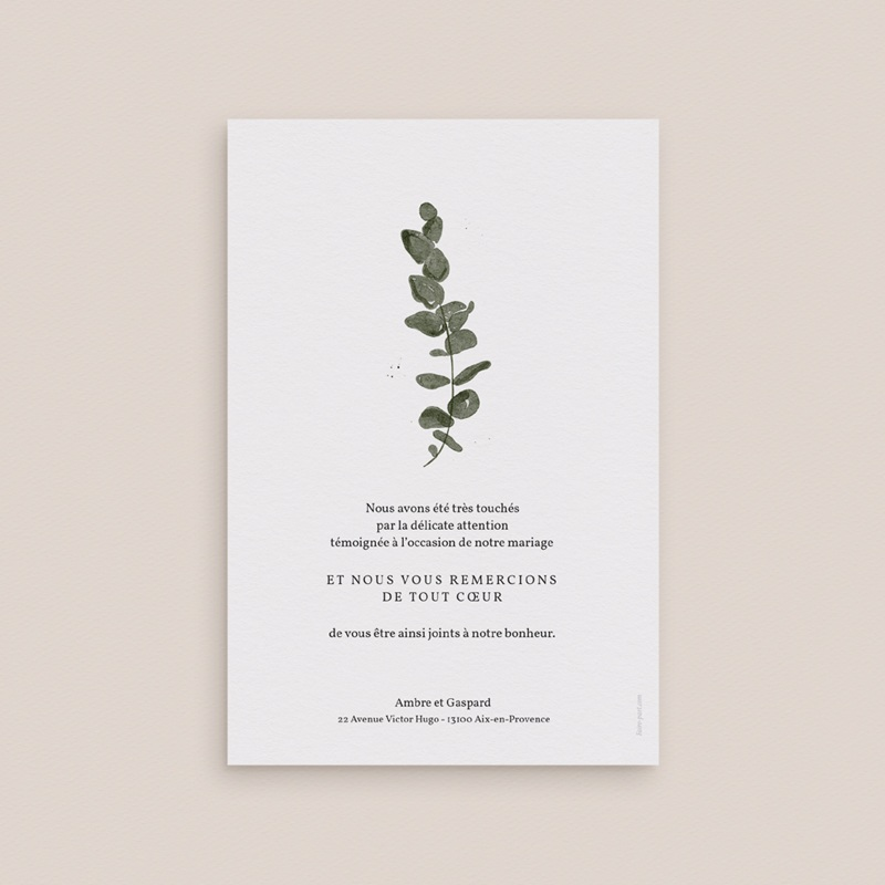 Carte de remerciement mariage moderne Eucalyptus Herbarium, portrait pas cher