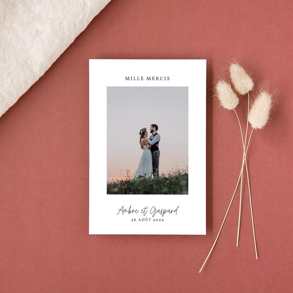 Carte de remerciement mariage moderne Eucalyptus Herbarium, portrait gratuit