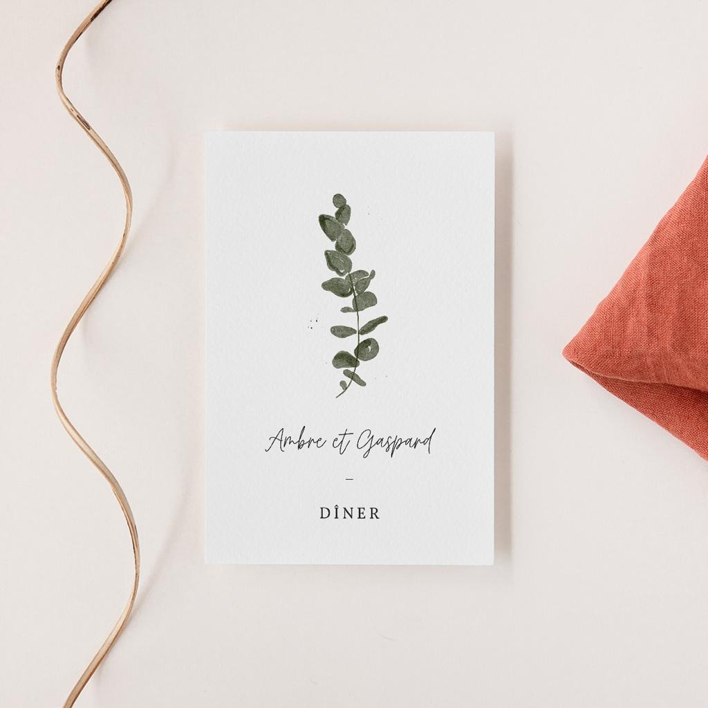 Carte d'invitation mariage Eucalyptus Herbarium, réception