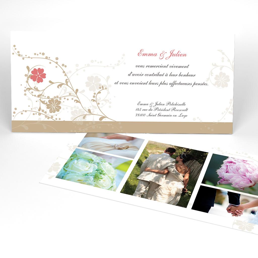 Carte de remerciement mariage Nuptial doré