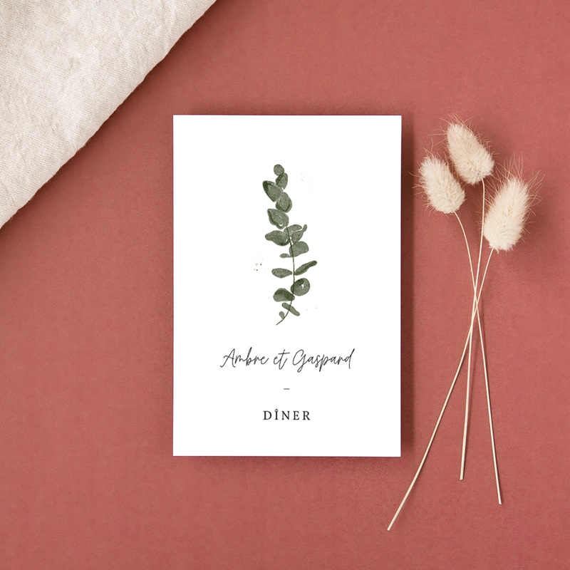 Carte d'invitation mariage Eucalyptus Herbarium, réception gratuit