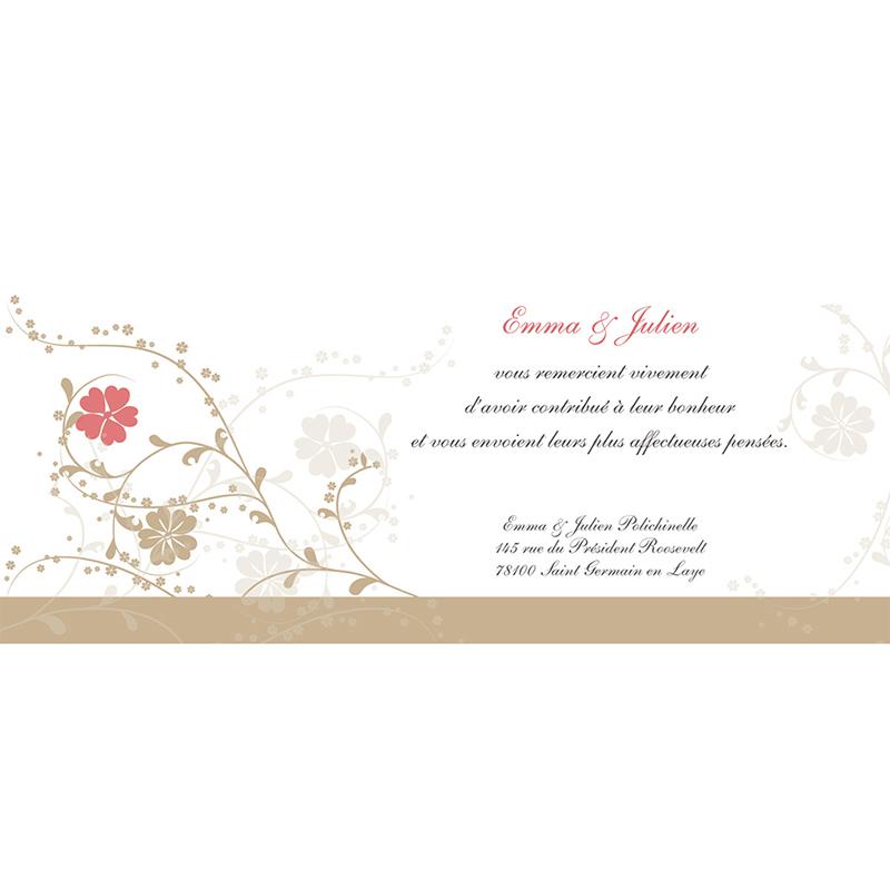 Carte de remerciement mariage Nuptial doré pas cher