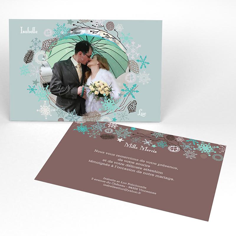 Carte de remerciement mariage Souffle d'hiver