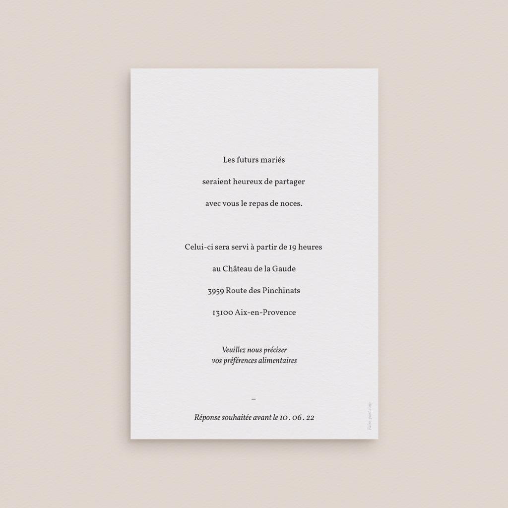 Carte d'invitation mariage Fougères Herbarium, repas de noces pas cher