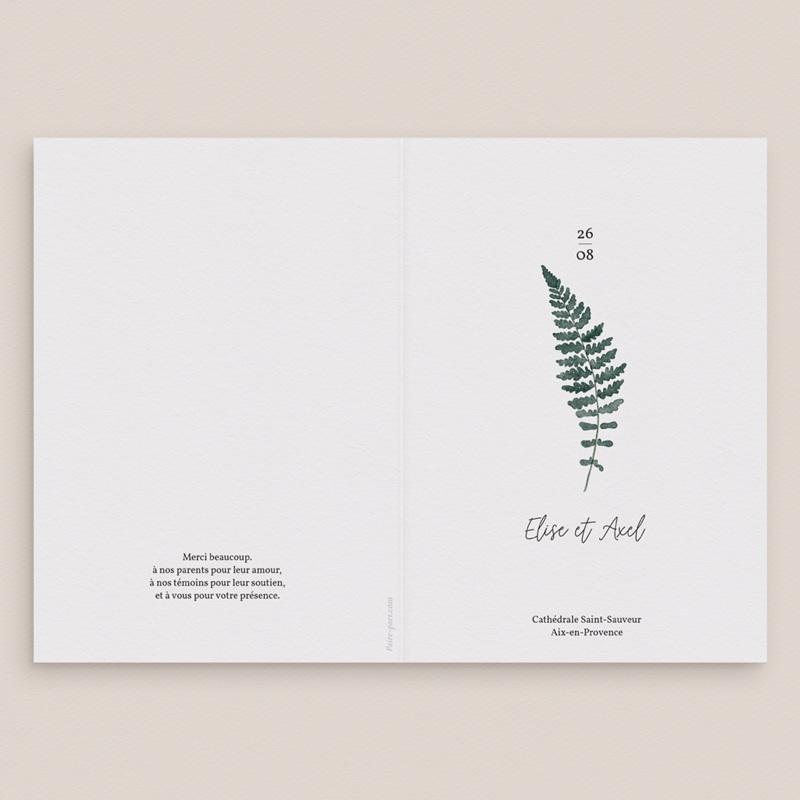 Livret de messe mariage Fougères Herbarium, Couverture Livret gratuit