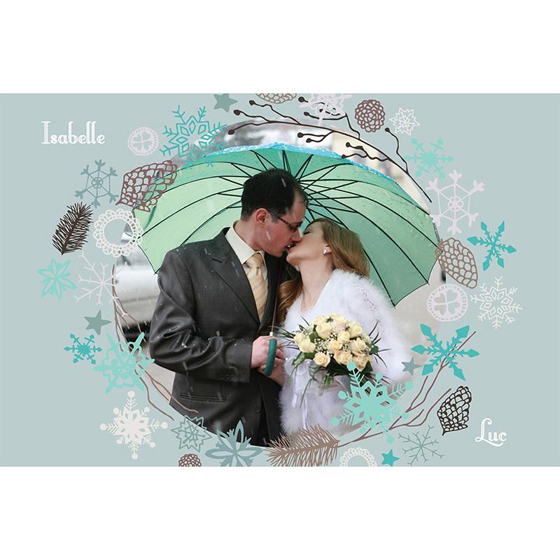 Carte de remerciement mariage Souffle d'hiver  pas cher