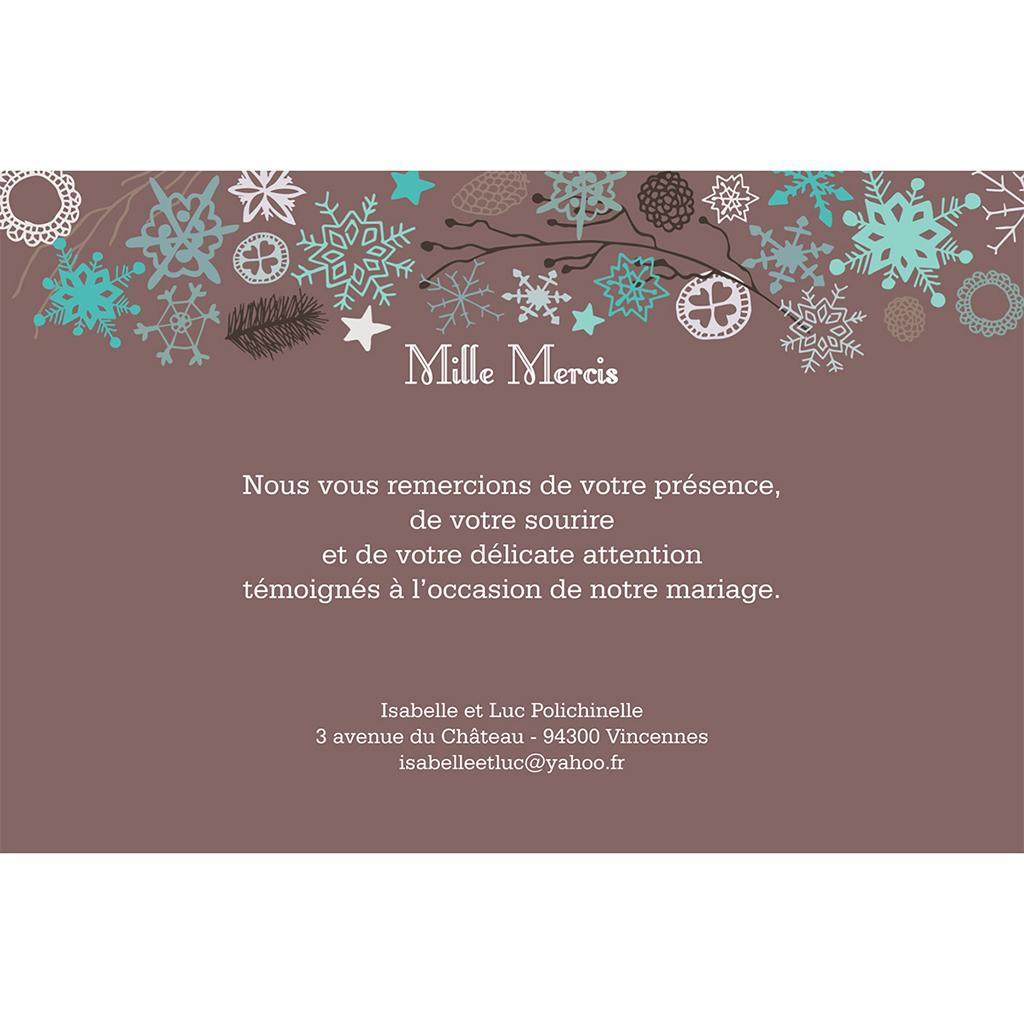 Carte de remerciement mariage Souffle d'hiver  gratuit