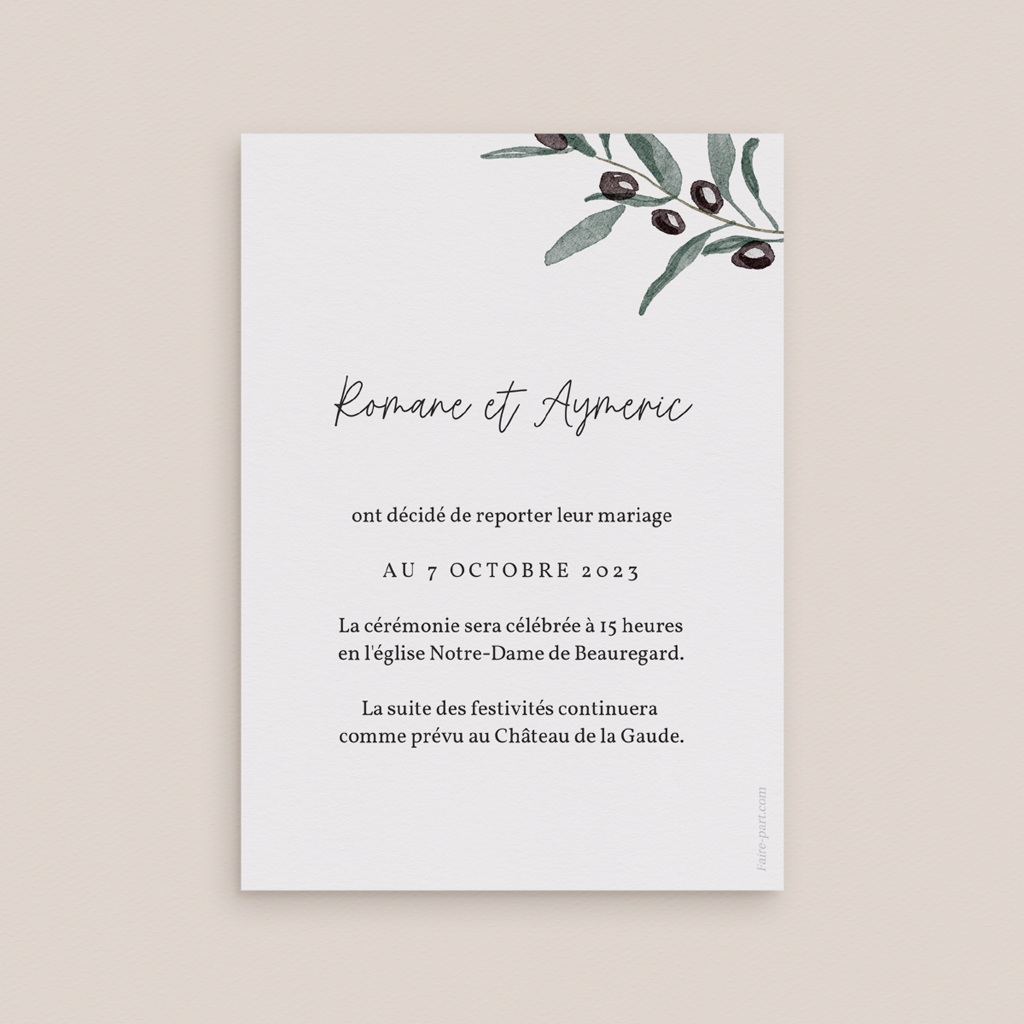 Change the date mariage Olivier Herbarium, date reportée pas cher