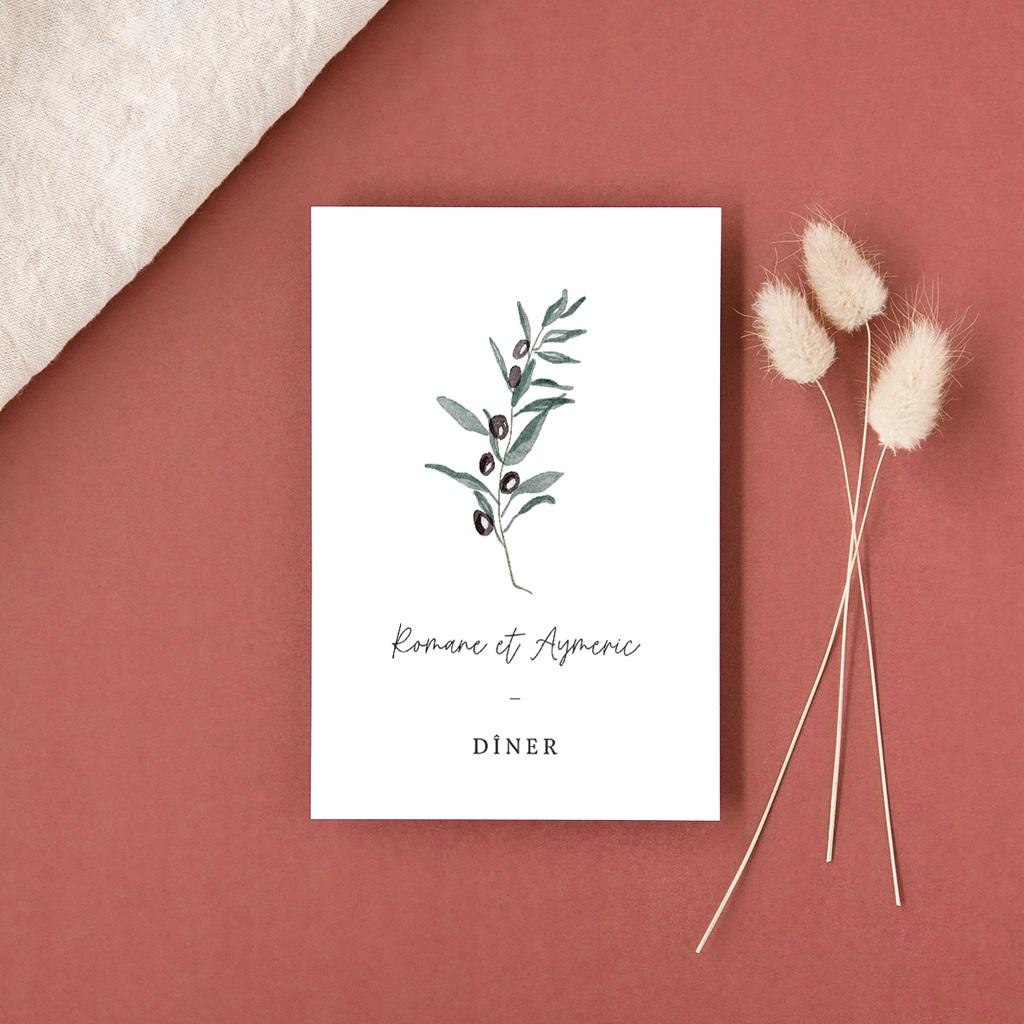 Carte d'invitation mariage Olivier Herbarium, repas de noces gratuit