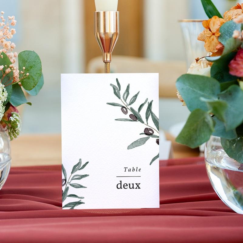 Marque table mariage Olivier Herbarium, lot de 3 repères gratuit
