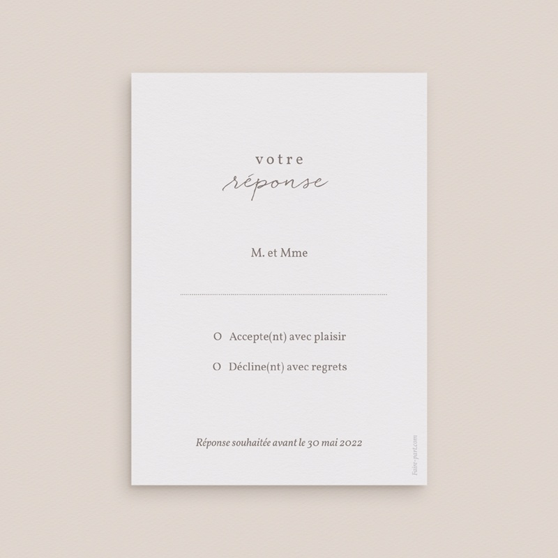 Carton réponse mariage Couronne de Fleurs d'Oranger, Rsvp pas cher