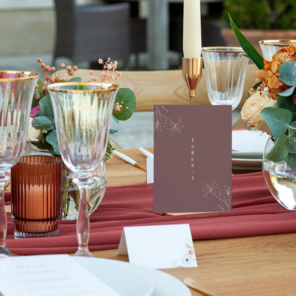 Marque table mariage Silhouette de Lys, Lot de 3 repères pas cher