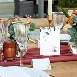 Marque table mariage Pastel de Fleurs & Feuillage, lot de 3 pas cher