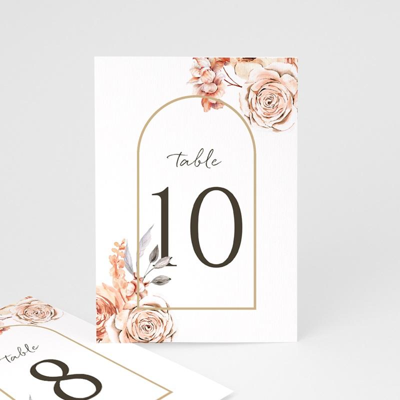 Marque table mariage Arche de roses caramel, 3 repères