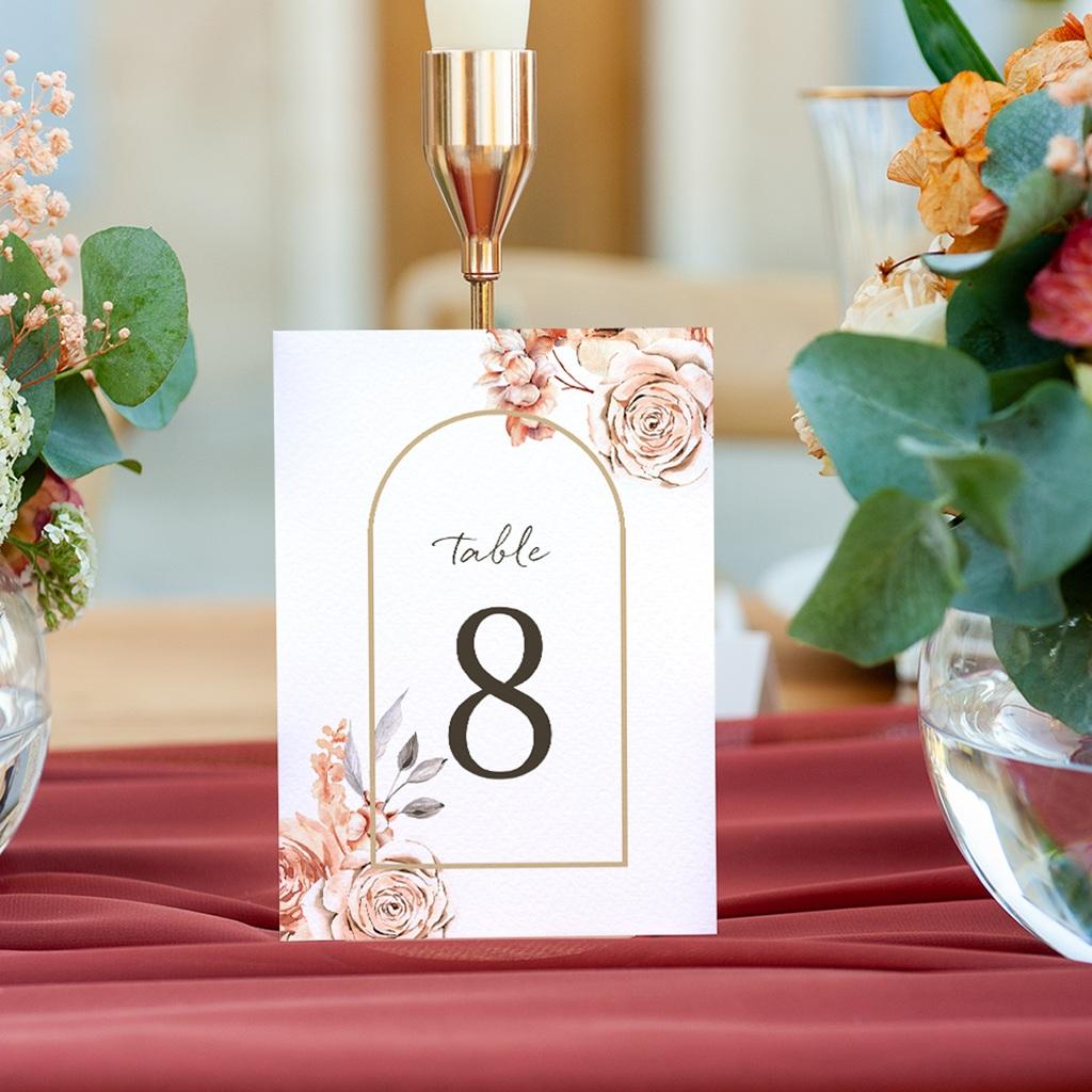 Marque table mariage Arche de roses caramel, 3 repères gratuit