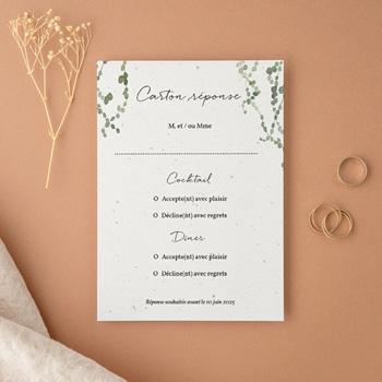 Carton réponse mariage Nature Végétale, Rsvp