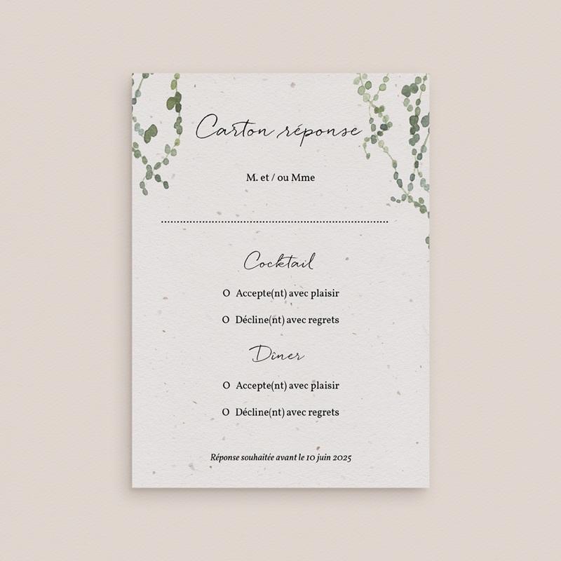 Carton réponse mariage Nature Végétale, Rsvp gratuit