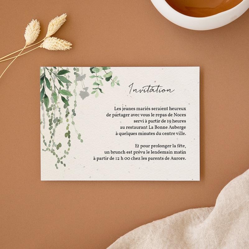 Carte d'invitation mariage Nature Végétale, réception et brunch