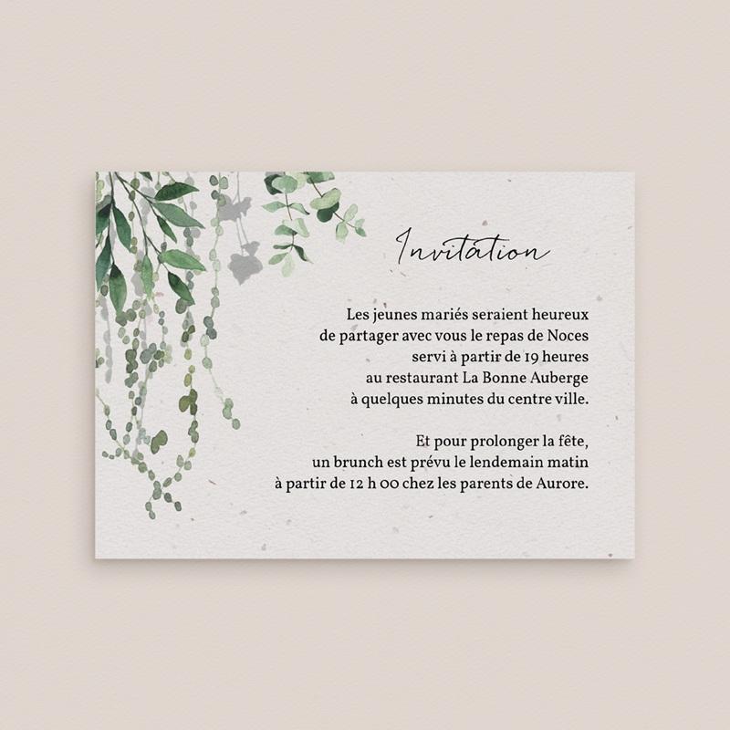 Carte d'invitation mariage Nature Végétale, réception et brunch gratuit