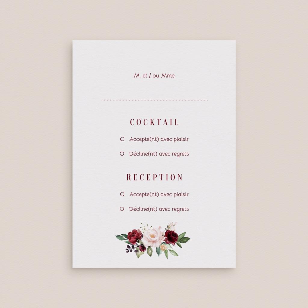 Carton réponse mariage Rubis chic, Cocktail & Réception gratuit