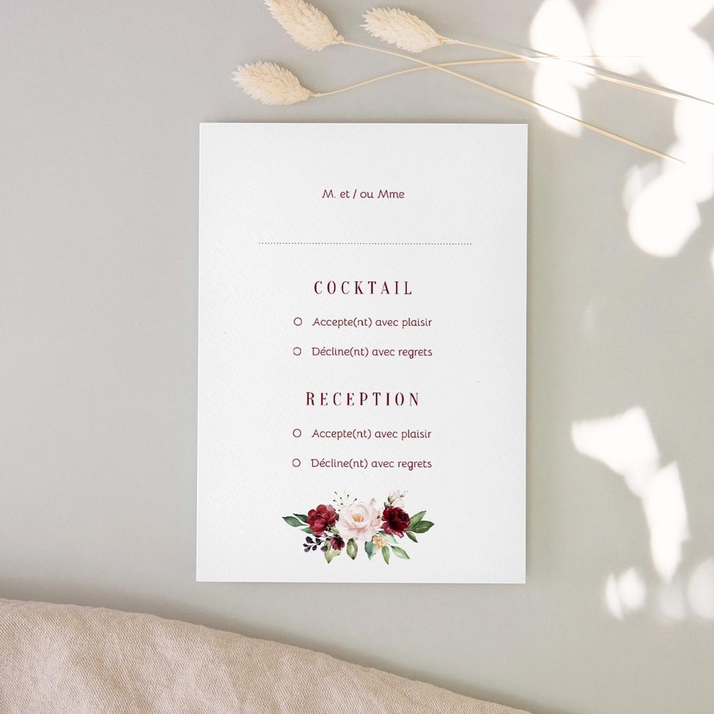 Carton réponse mariage Rubis chic, Cocktail & Réception