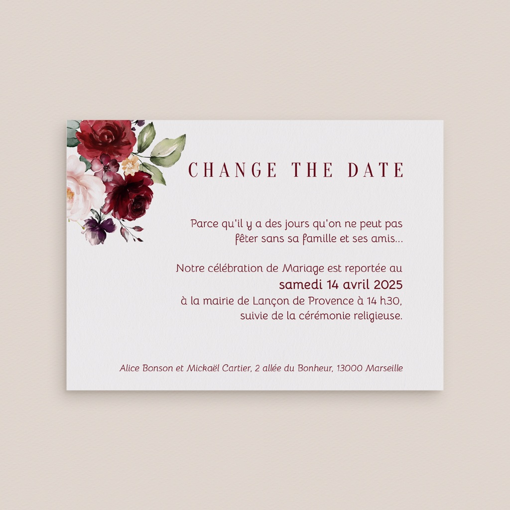 Change the date mariage Rubis Chic gratuit