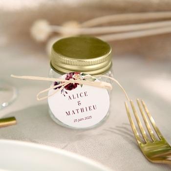 Etiquettes cadeaux mariage Rubis Chic