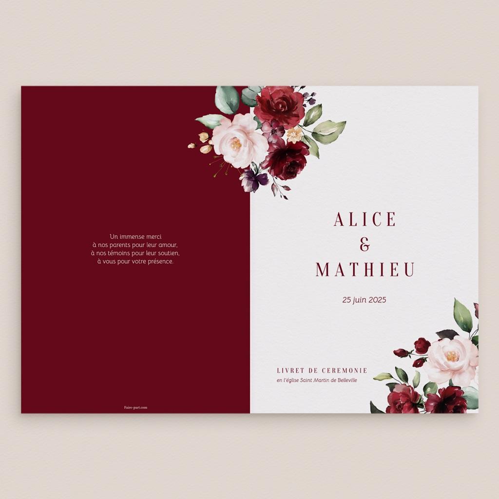 Livret de messe mariage Rubis Chic gratuit