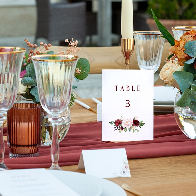 Marque table mariage Rubis Chic pas cher