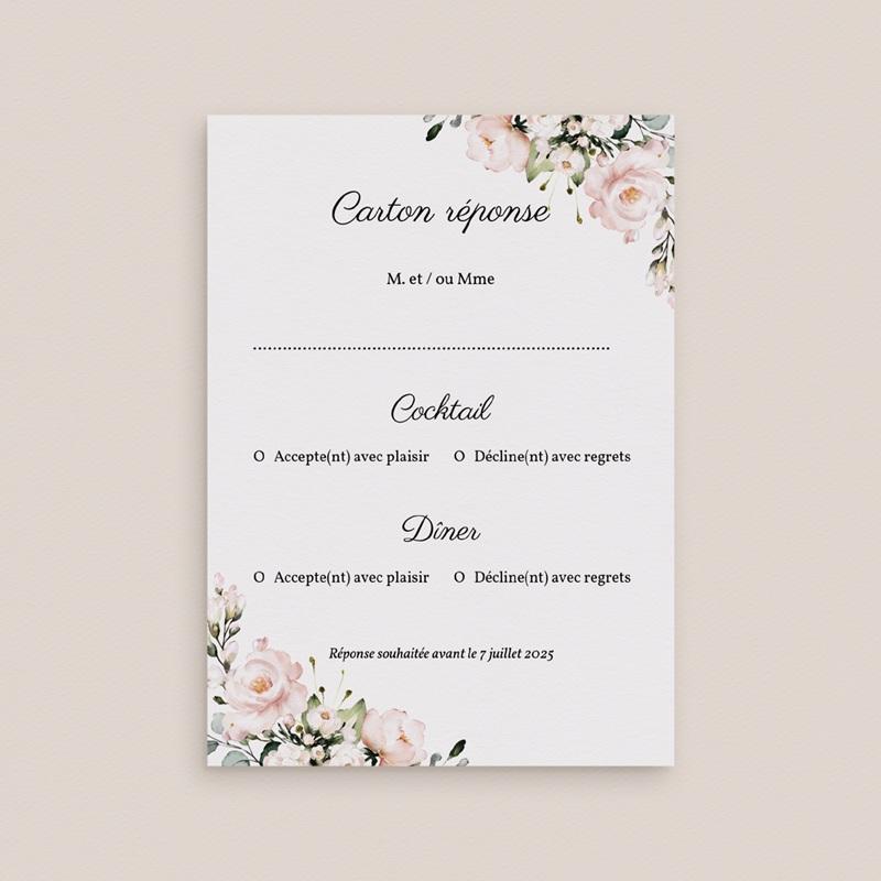 Carton réponse mariage Champêtre Romantique, Rsvp gratuit