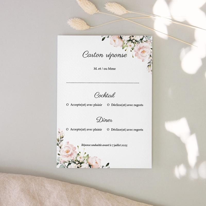 Carton réponse mariage Champêtre Romantique, Rsvp