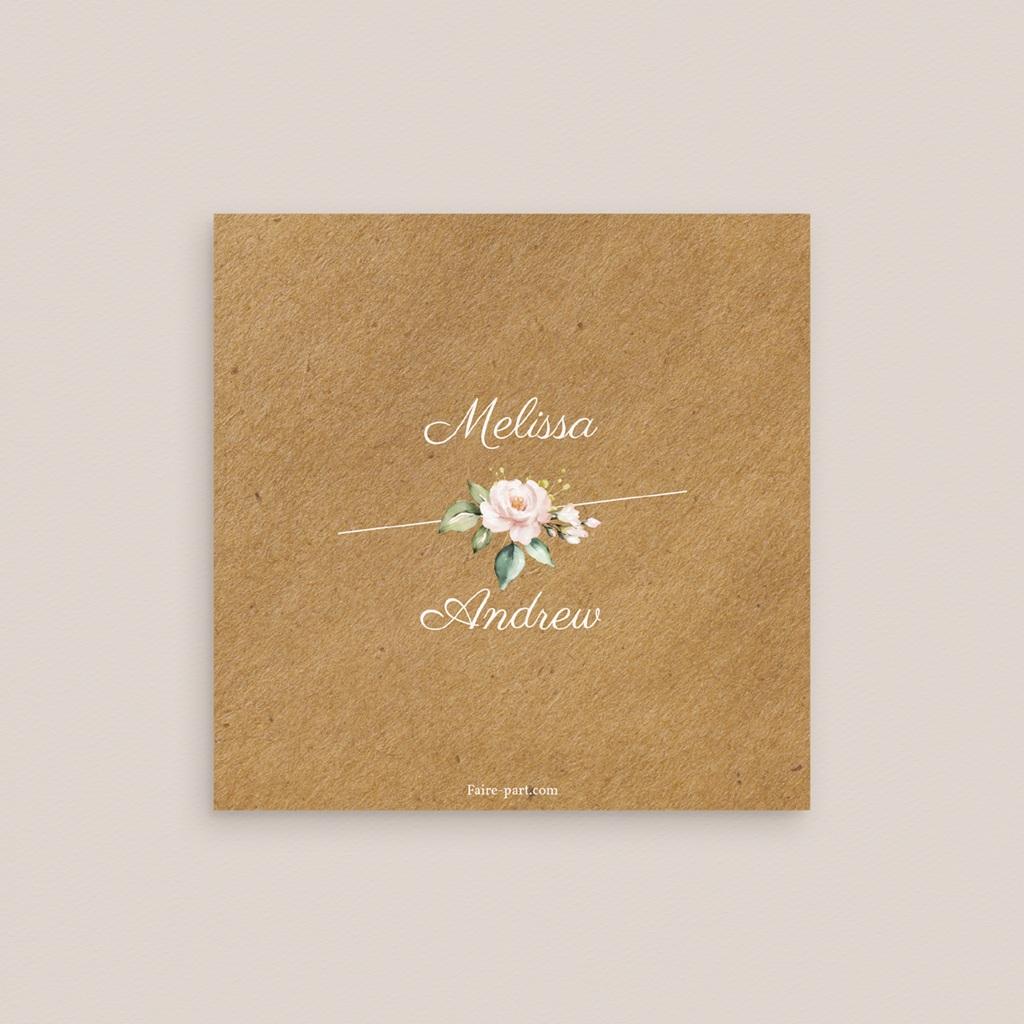 Carte d'invitation mariage Champêtre Romantique, réception pas cher