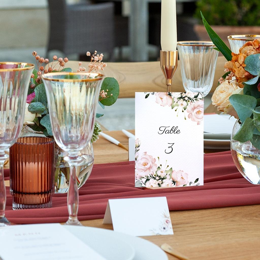 Marque table mariage Champêtre Romantique, lot de 3 pas cher